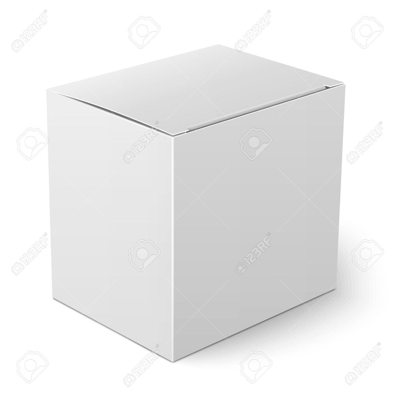 blank paper or cardboard box template with flap cover standing