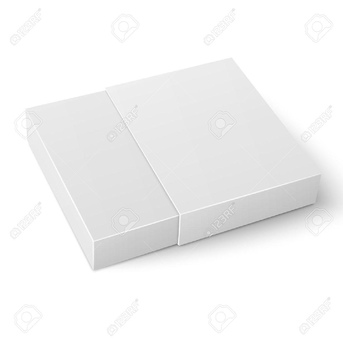 white sliding cardboard box template on white background packaging