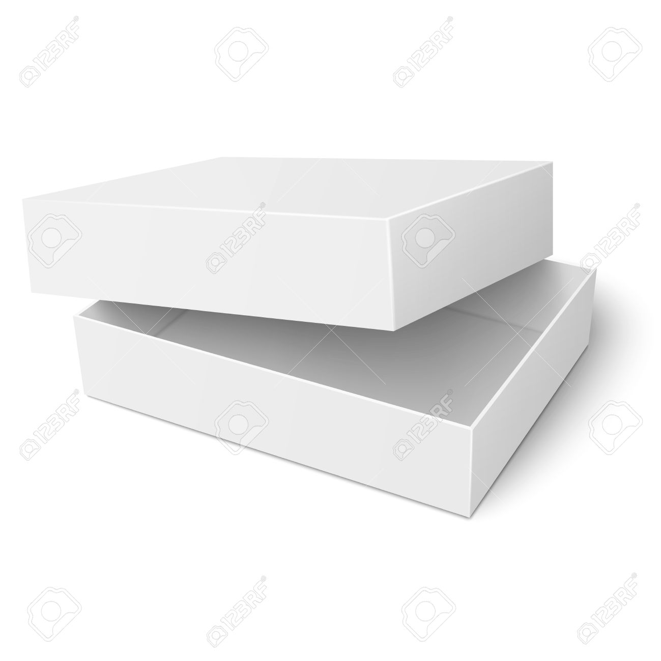 Template Of Blank Paper Or Cardboard Box With Opened Lid Lying ...