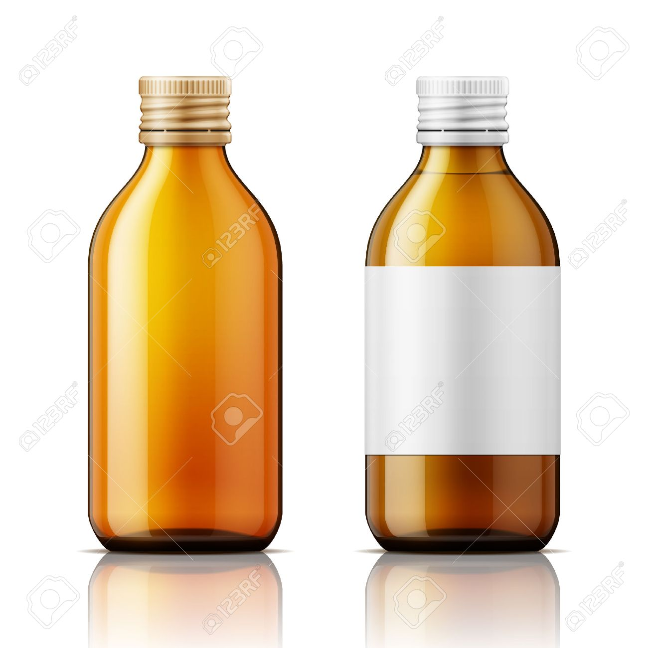 Template of brown glass bottle with screw cap, filled with liquid and empty. For medicine, syrup, pills, tabs. Packaging collection. Vector illustration. - 47208740