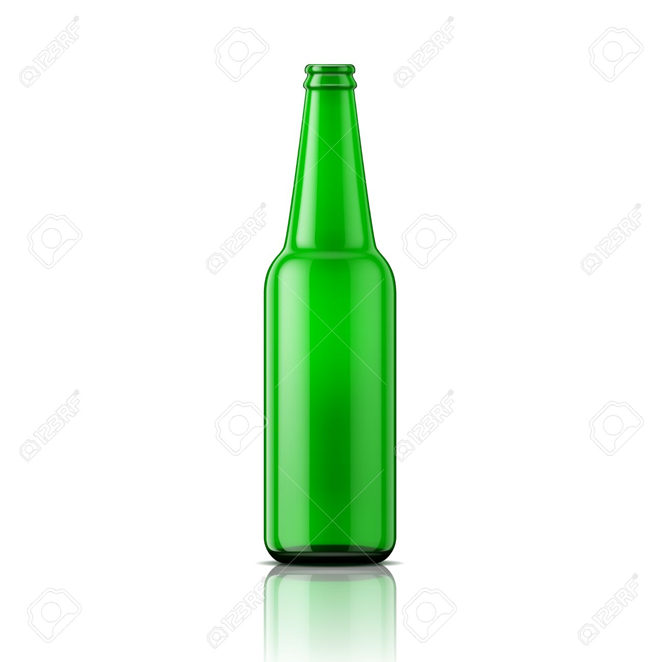 template of empty beer bottle without cap on white background