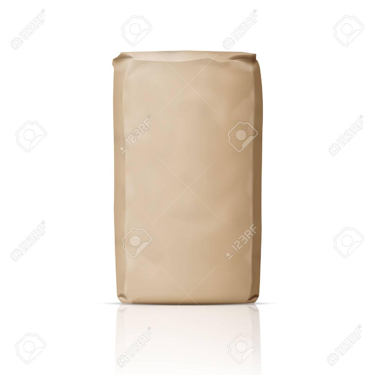Blank brown paper bag for powder, sugar or flour. Vector illustration. - 53798482