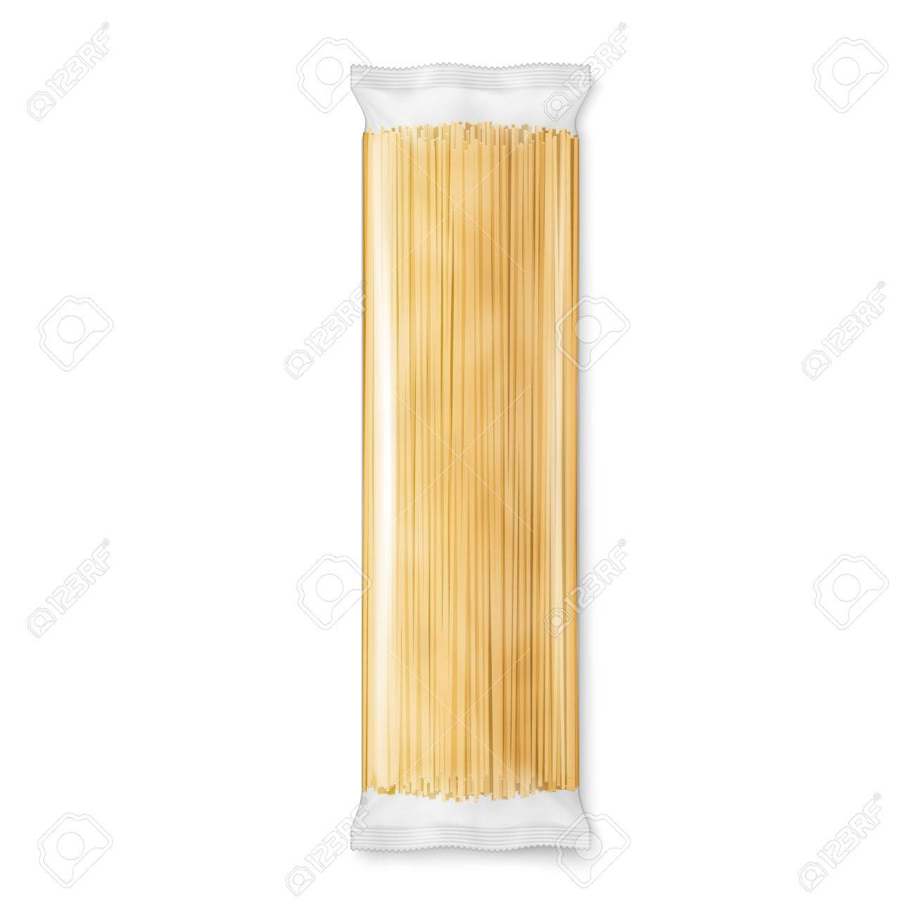 spaghetti or capellini pasta transparent package isolated on