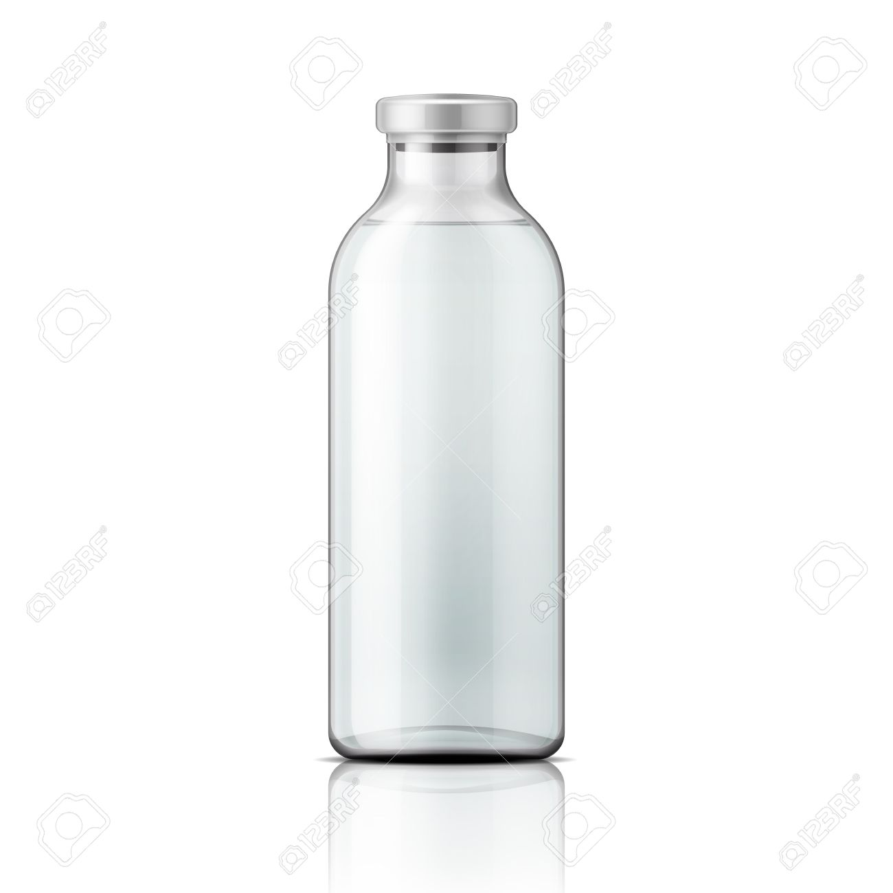 template of empty tall transparent glass bottle with aluminium
