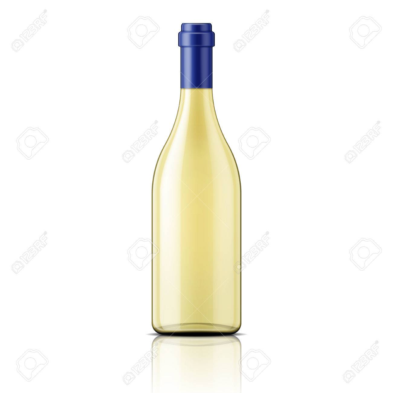 transparent glass bottle template with white wine package
