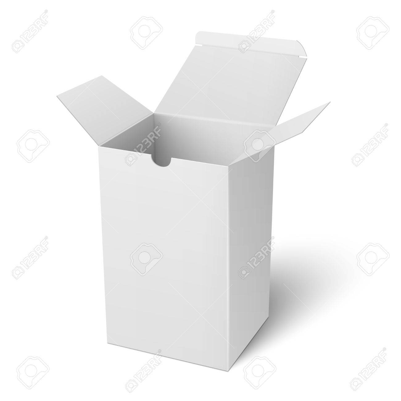 Blank Open Vertical Paper Or Cardboard Box Template Standing ...