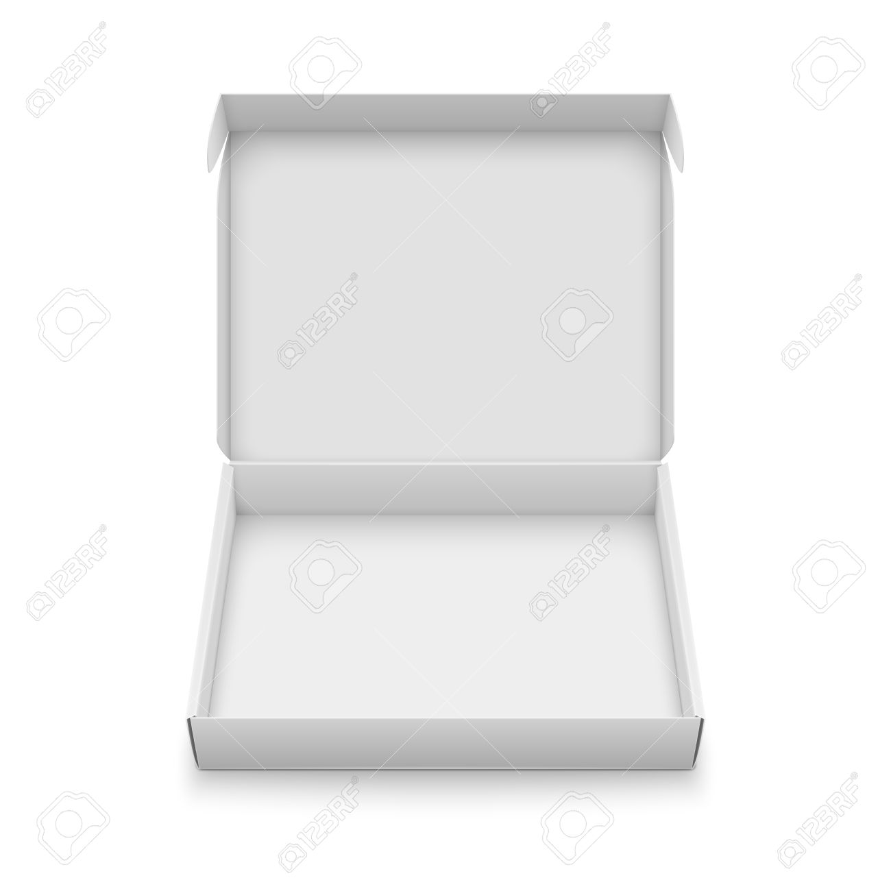 Blank Slim Cardboard Box Template With Open Lid Isolated On White Background Front View