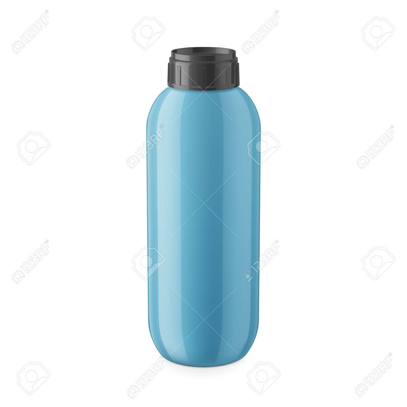 Round Blue Glossy Plastic Bottle With Black Cap For Shampoo Balm