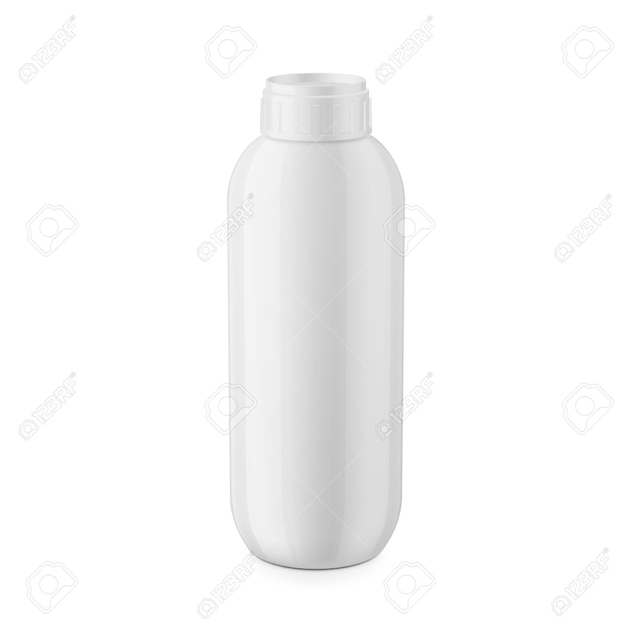 Round White Glossy Plastic Bottle With Cap For Shampoo Balm Shower