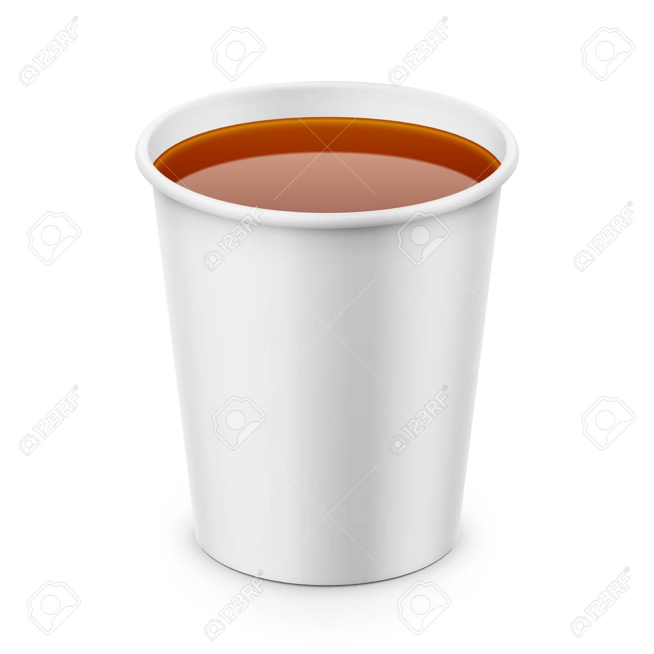 White Paper Cup With Tea Template Royalty Free Cliparts Vectors