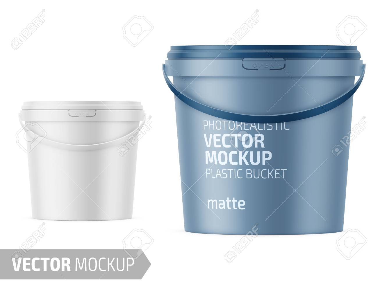 White Matte Plastic Bucket For Food Products Paint Household Royalty Free Cliparts Vectors And Stock Illustration Image 111910626