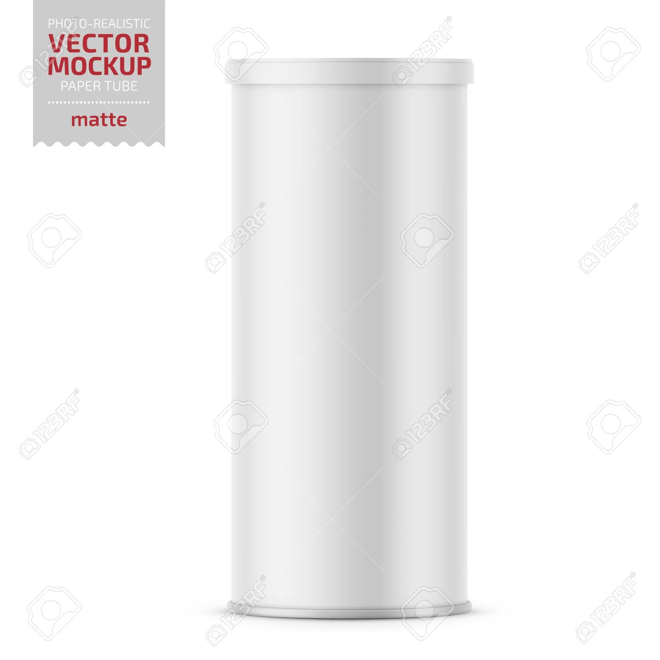 White matte paper tube with plastic lid for snacks, chips. Photo-realistic packaging mockup template. Vector 3d illustration. - 109628254