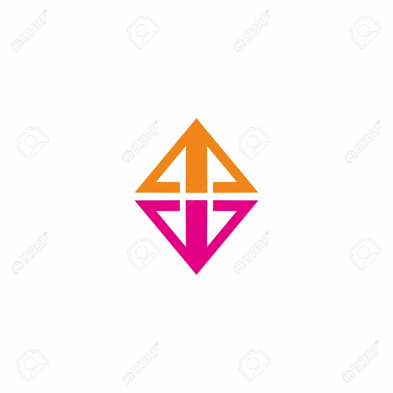 triangle and inverted pyramid in isolated background logo vector