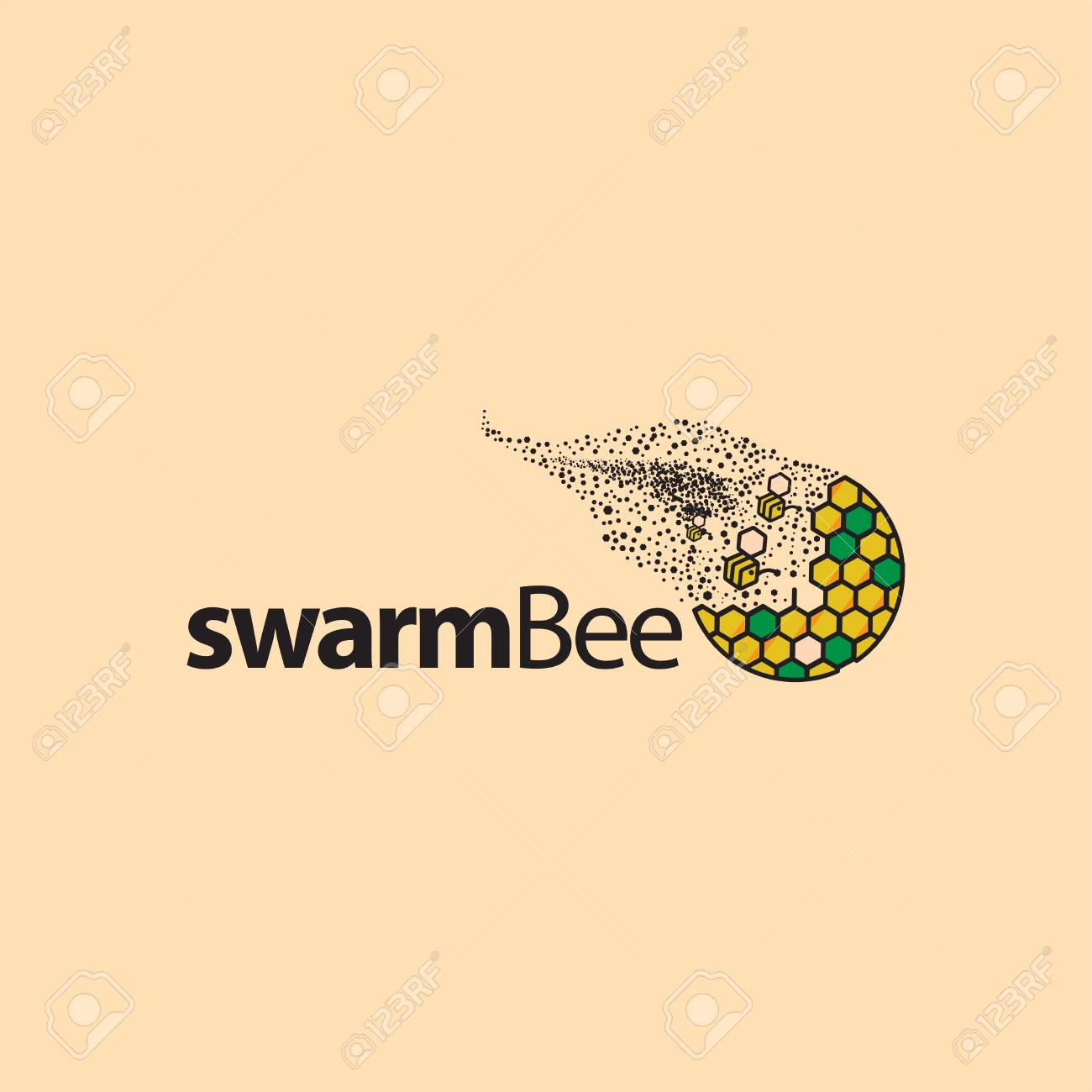swarm bee icon element bee icon template royalty free cliparts