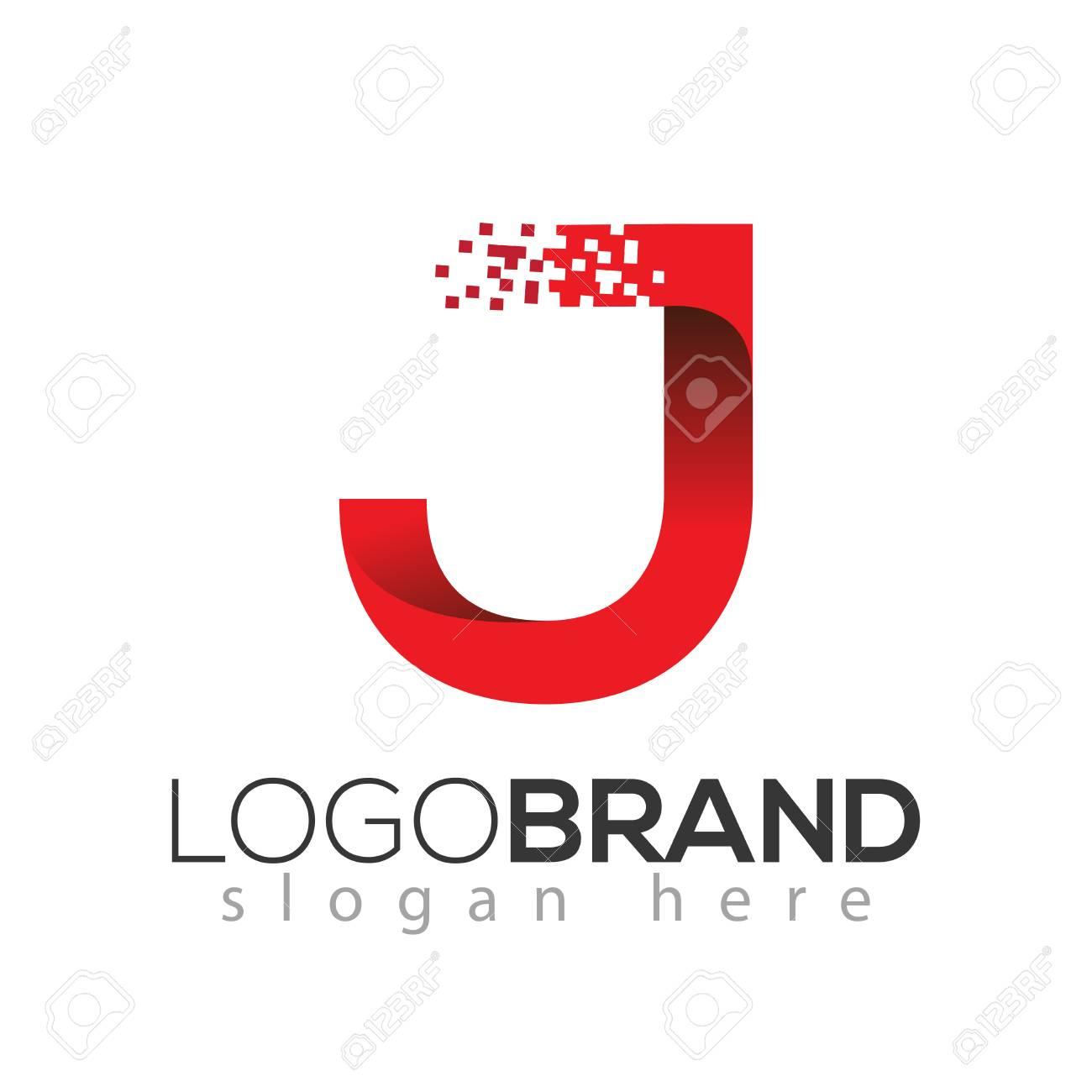J letter data tech logo concept. letter with data vector template - 105131702