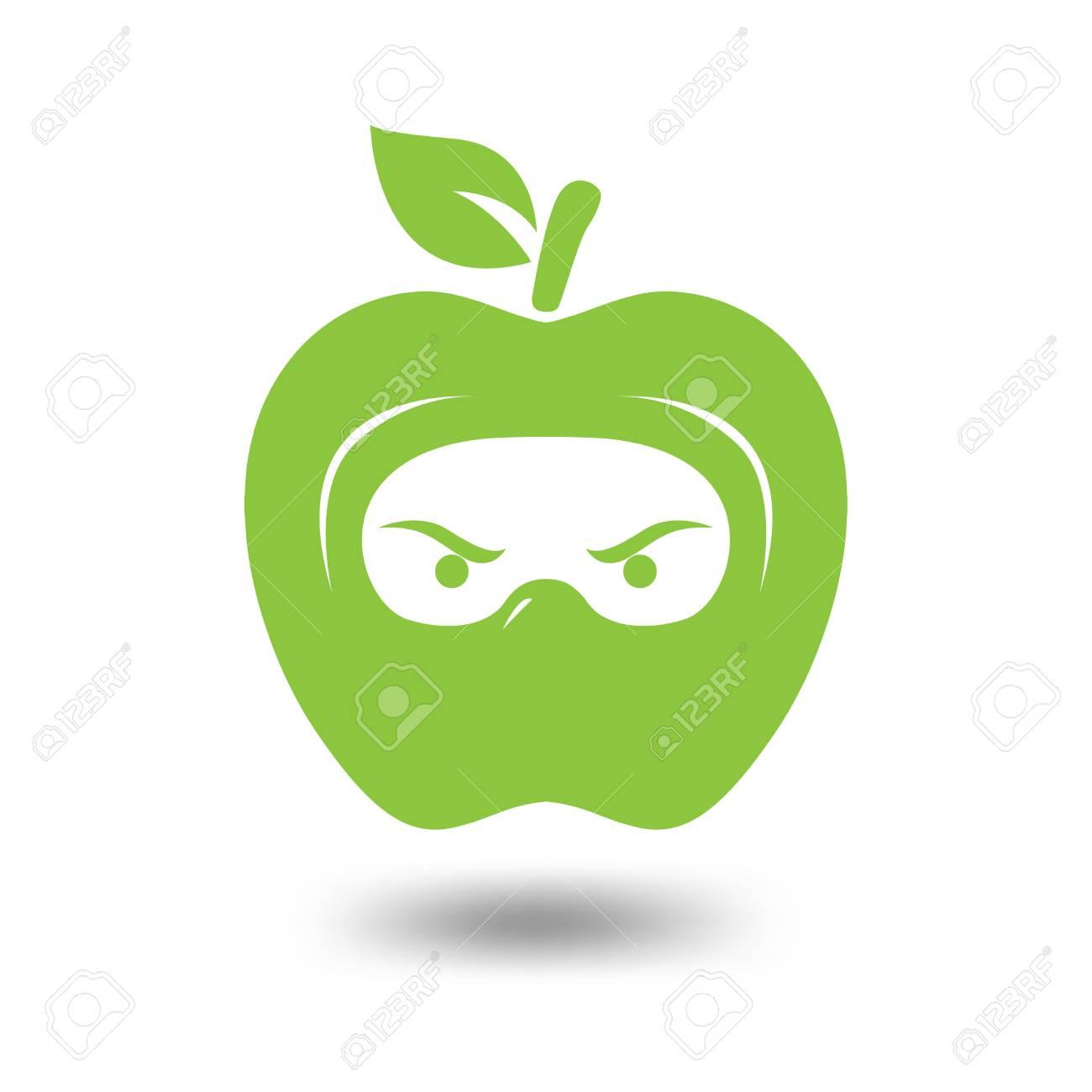 apple head ninja logo template apple fruit and ninja logo element