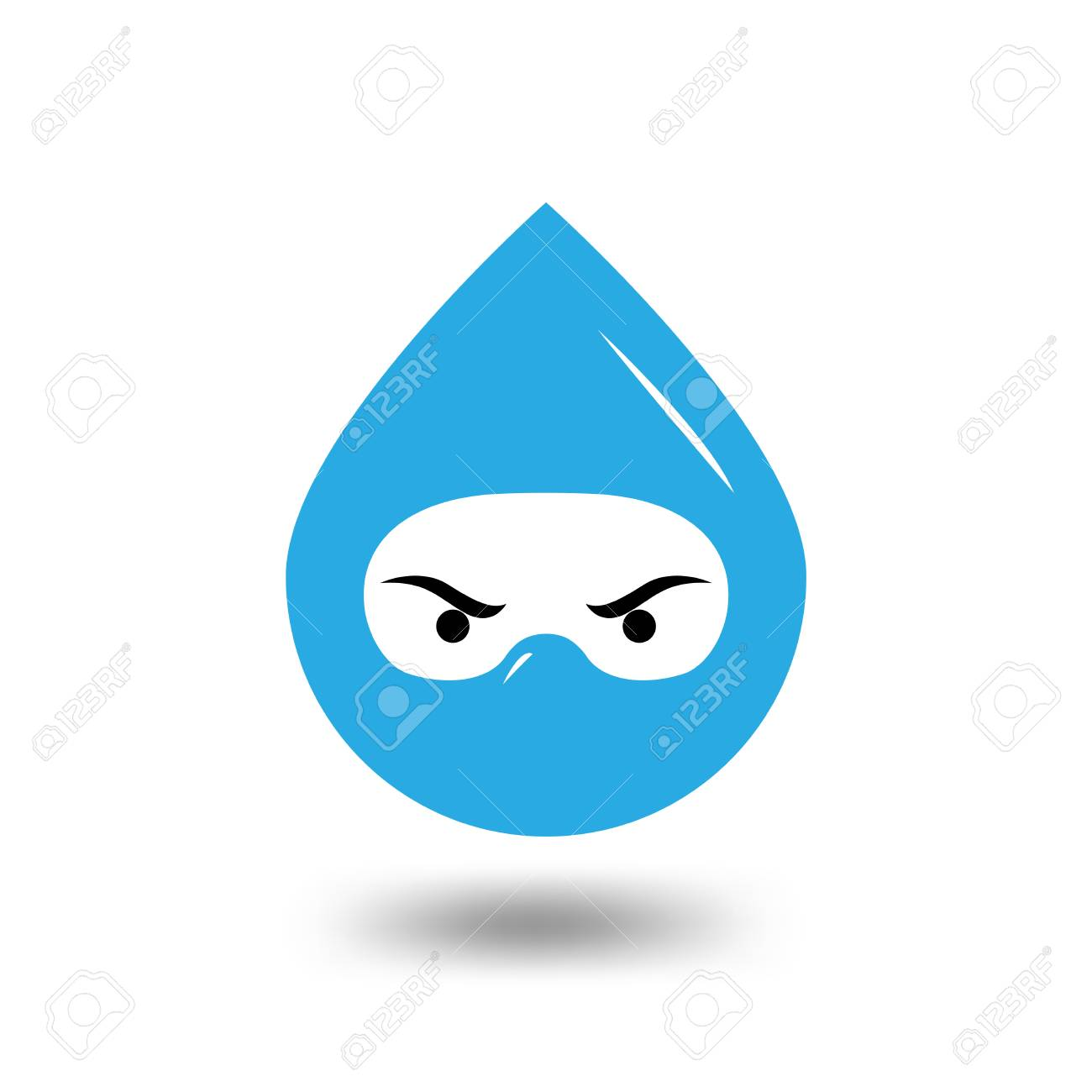 water droplet head ninja logo template water and ninja logo