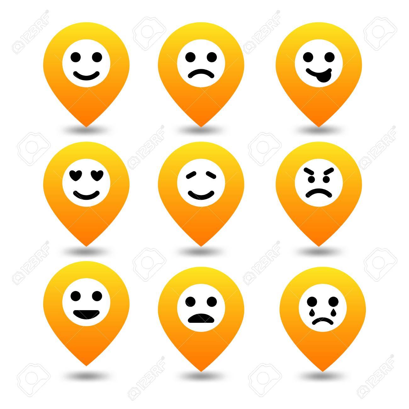 Icon set emoji pin location expressions of emotion