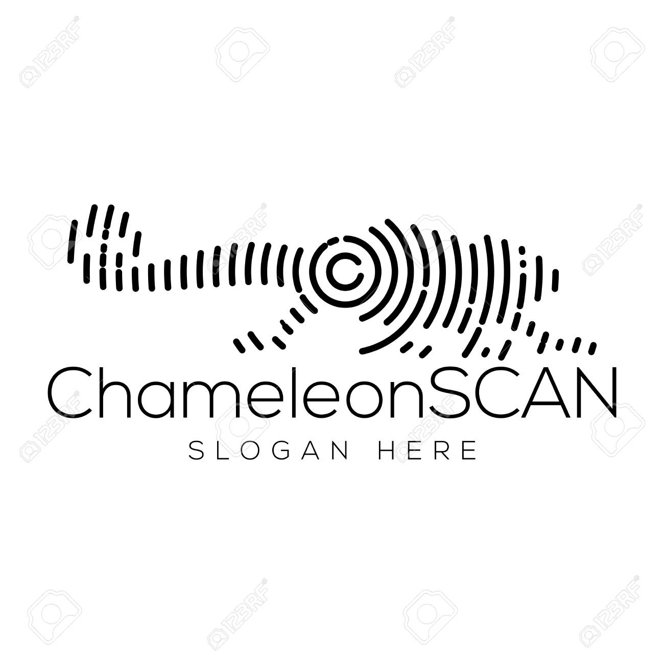 Chameleon Scan Technology Logo Vector Element Animal Technology