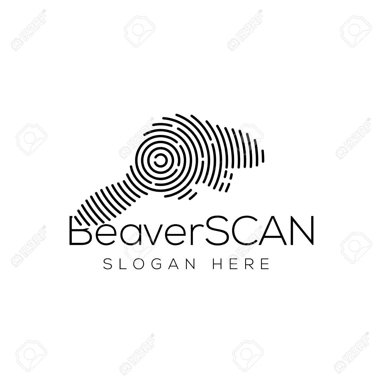 Beaver Scan Technology Logo Vector Element Animal Technology