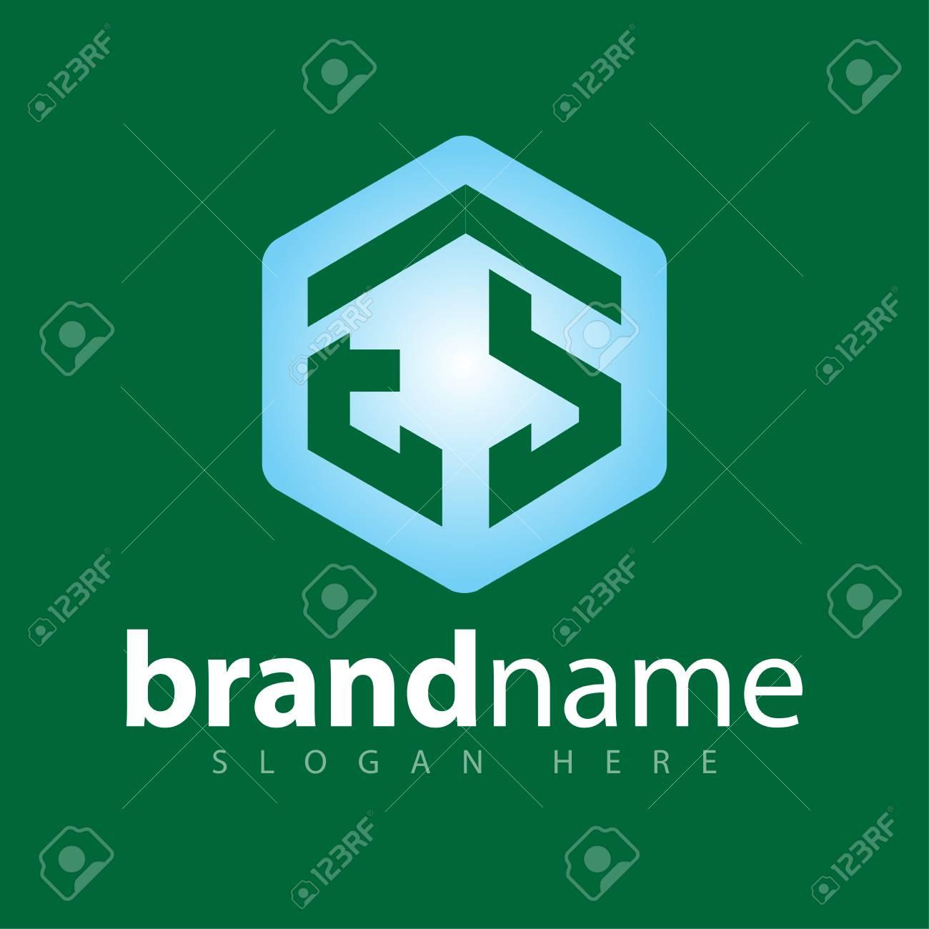 ES Initial letter hexagonal logo vector - 106627805