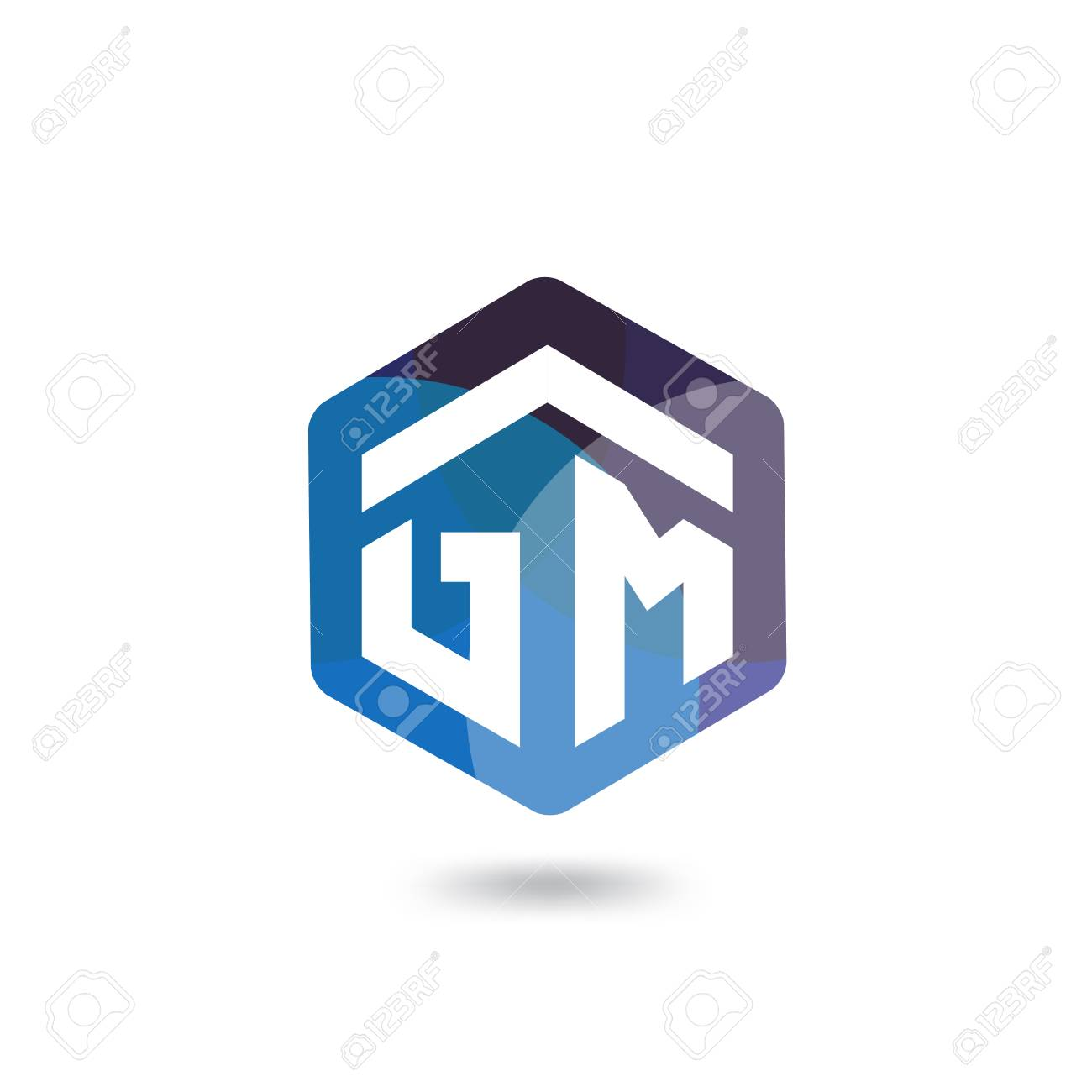 Gm Initial Letter Hexagonal Logo Vector Template Royalty Free