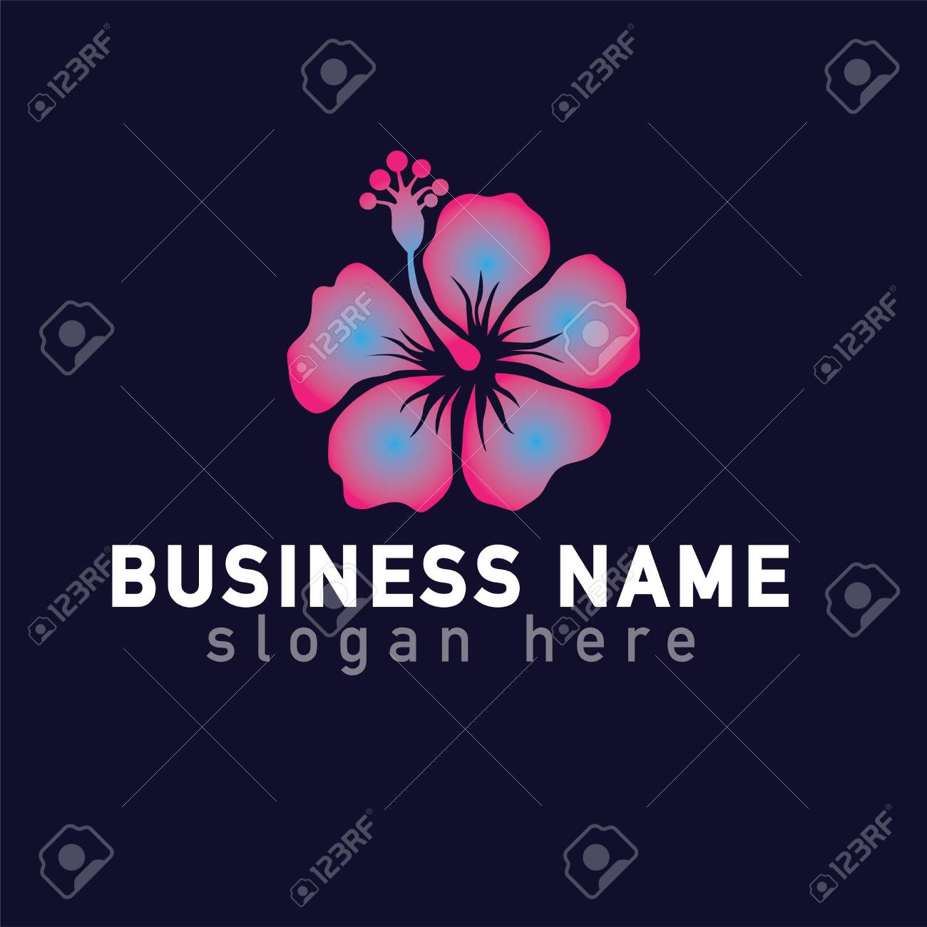 Hibiscus Flower Logo Icon Vector Template Royalty Free Cliparts