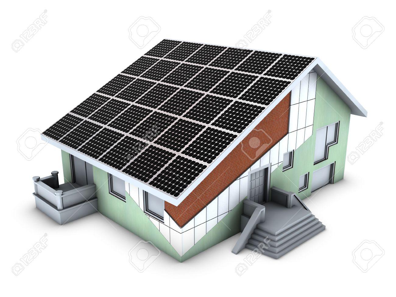 Haus Modell Mit Polystyrol Block Und Solar Panels Auf Weißen Hintergrund  Isoliert Standard Bild