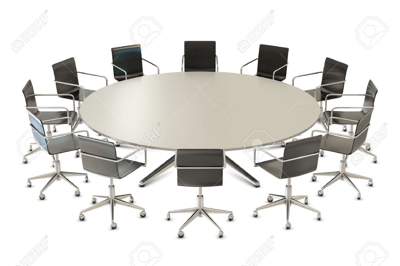 Round table with chairs isolated on white background Stock Photo - 7962331