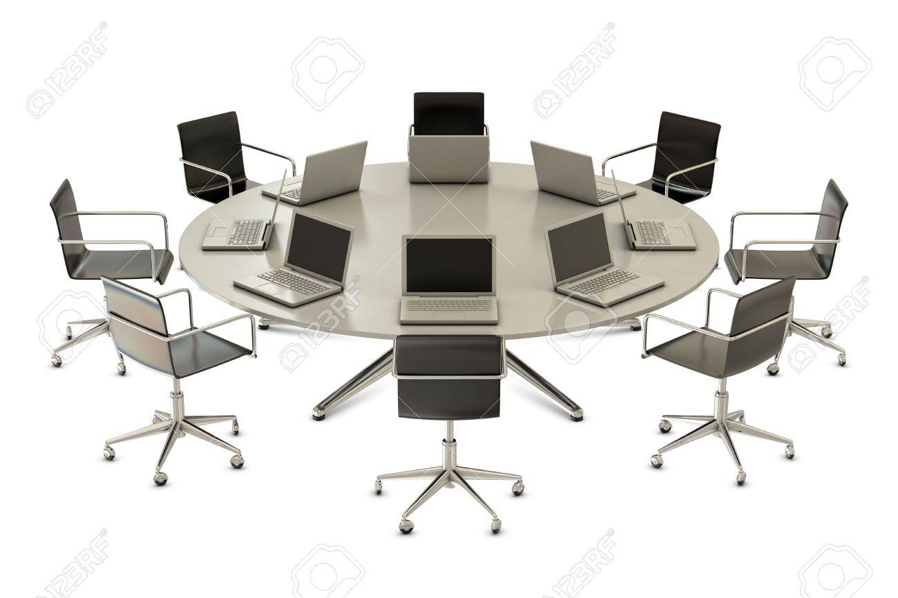 Round table with chairs and laptops isolated on white background Stock Photo - 8083543