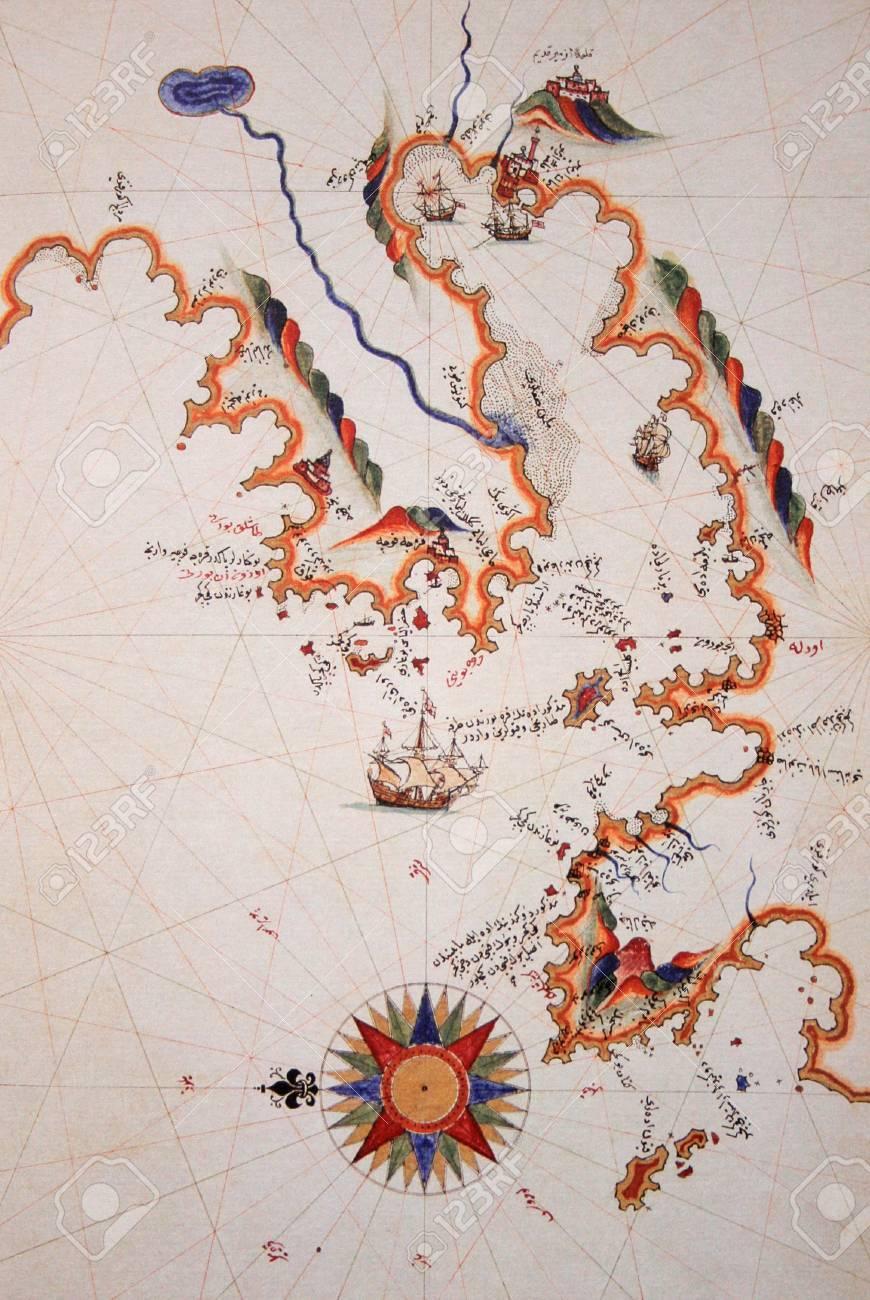 Copy Of Piri Reis Map On A BrochureIzmir In Turkey Stock Photo
