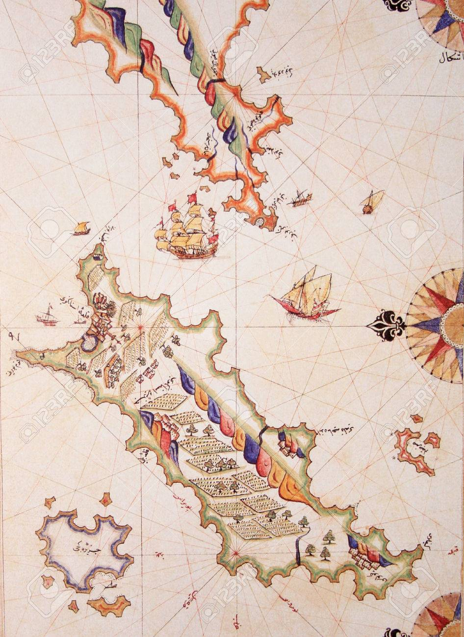 Copy of piri reis map on a brochure cos kos islandgreece stock copy of piri reis map on a brochure cos kos islandgreece gumiabroncs Choice Image