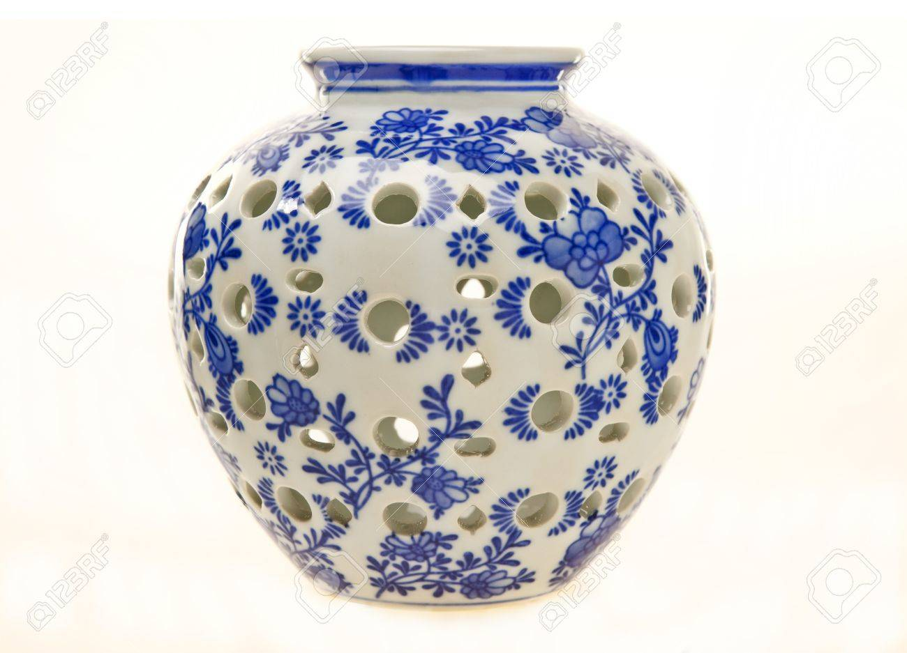 Blue and white pottery - Blue And White Pottery Jar Stock Photo 11701203