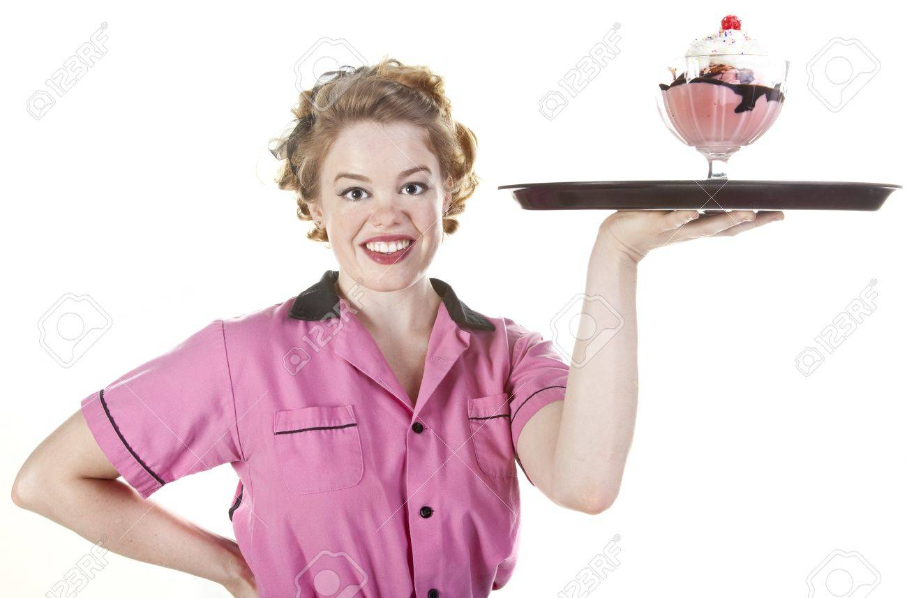 Vintage style waitress or female server serving an ice cream sundae isolated on white Stock Photo - 16248375