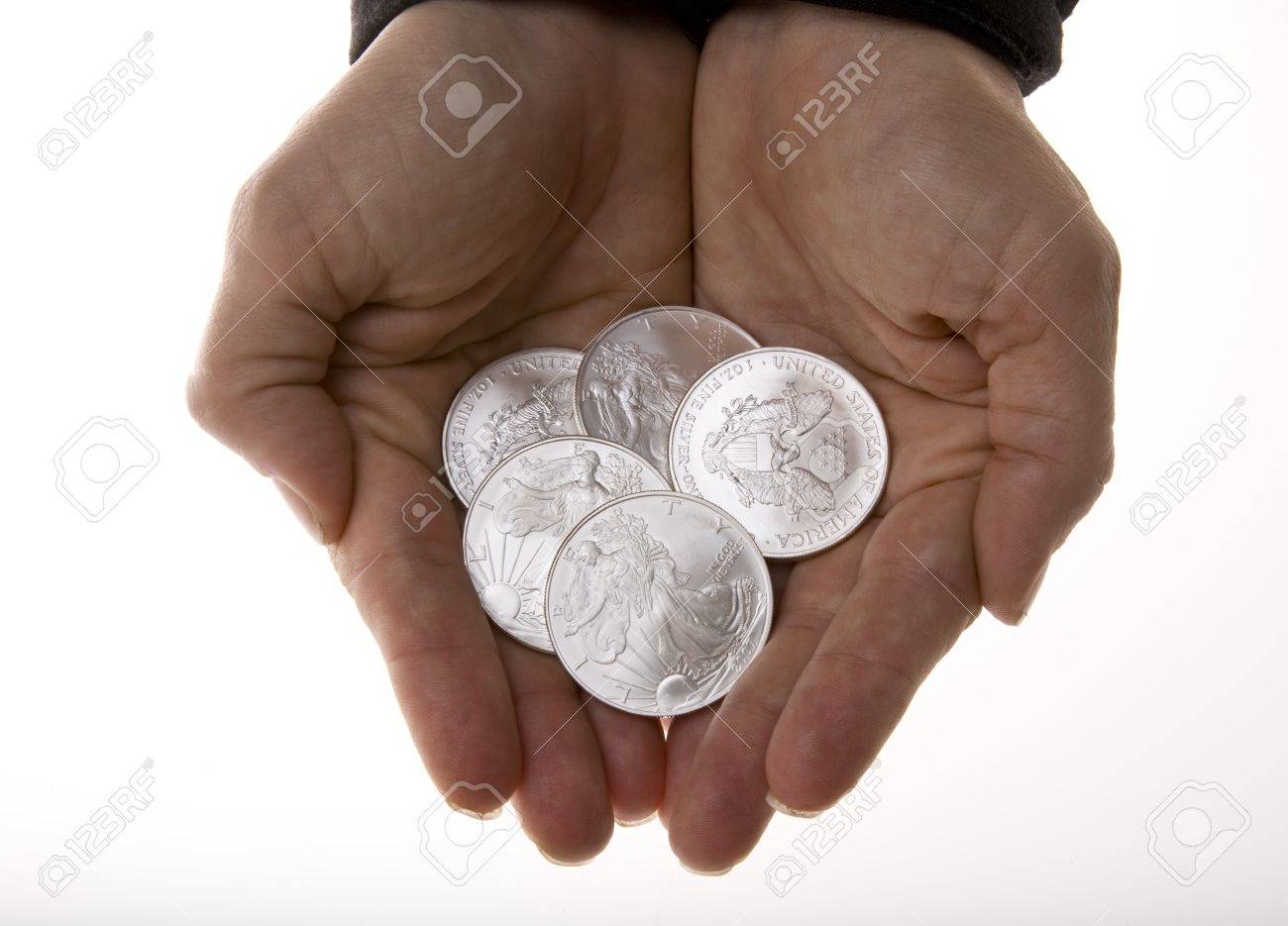 Handful of Silver Liberty Coins Stock Photo - 16646298