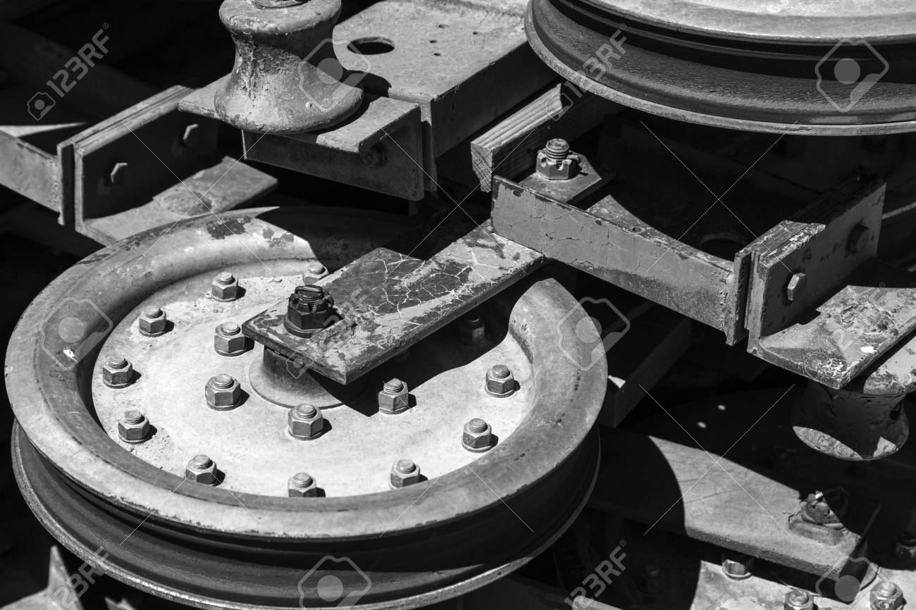 Abstract photograph of pulley wheels used in ski chairlifts with
