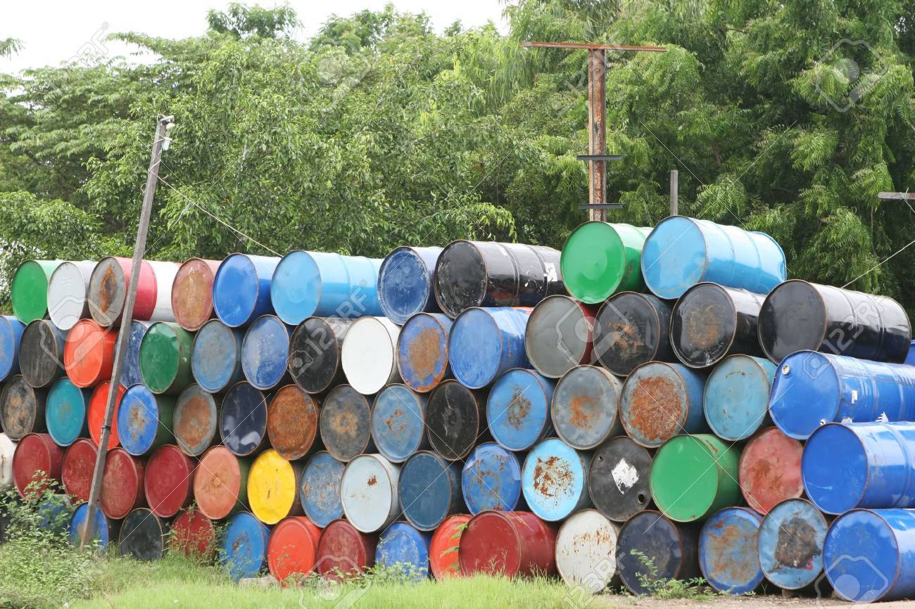 Stacks of colorful barrel once contained dangerous chemicals Stock Photo - 2327117