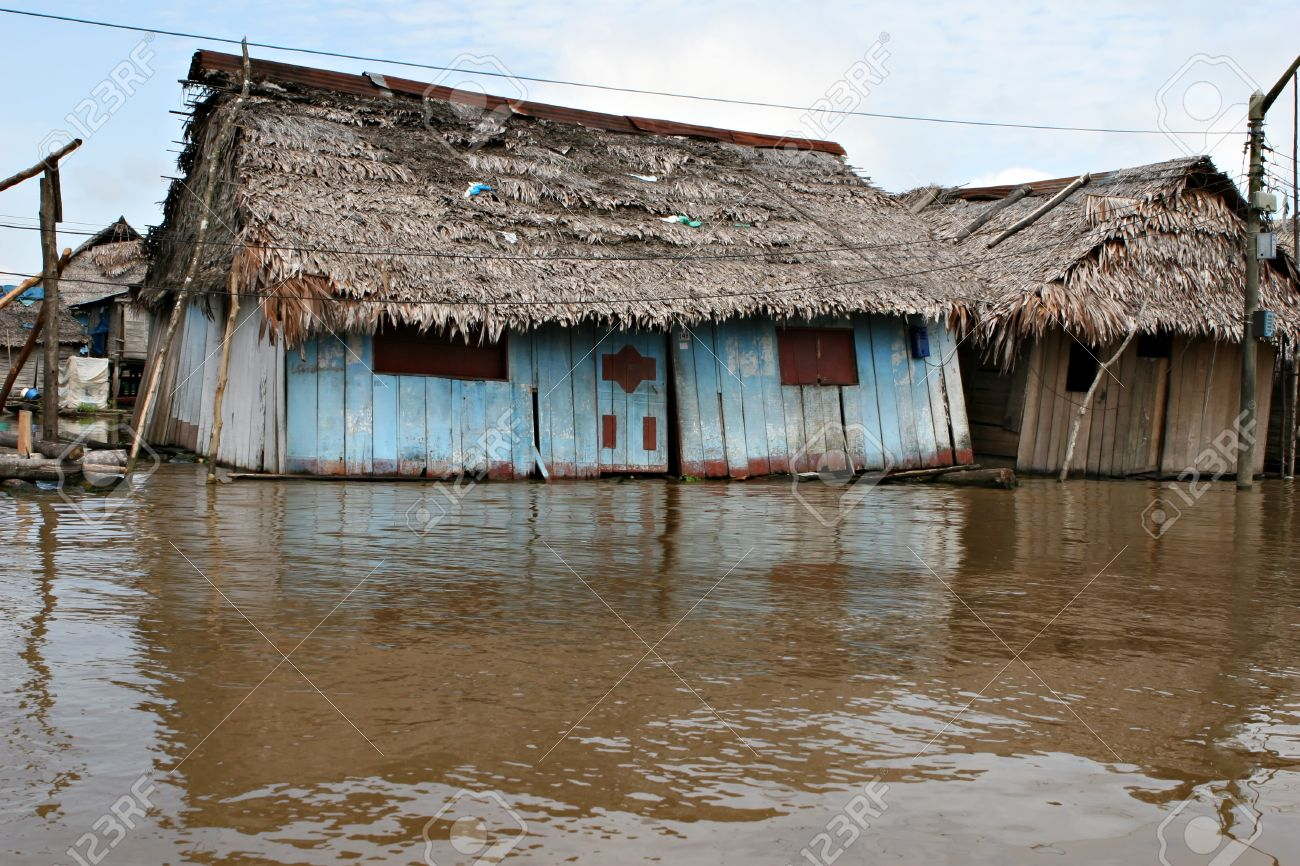 Houses On Stilts Rise Above The Polluted Water In Belen, Iquitos ...