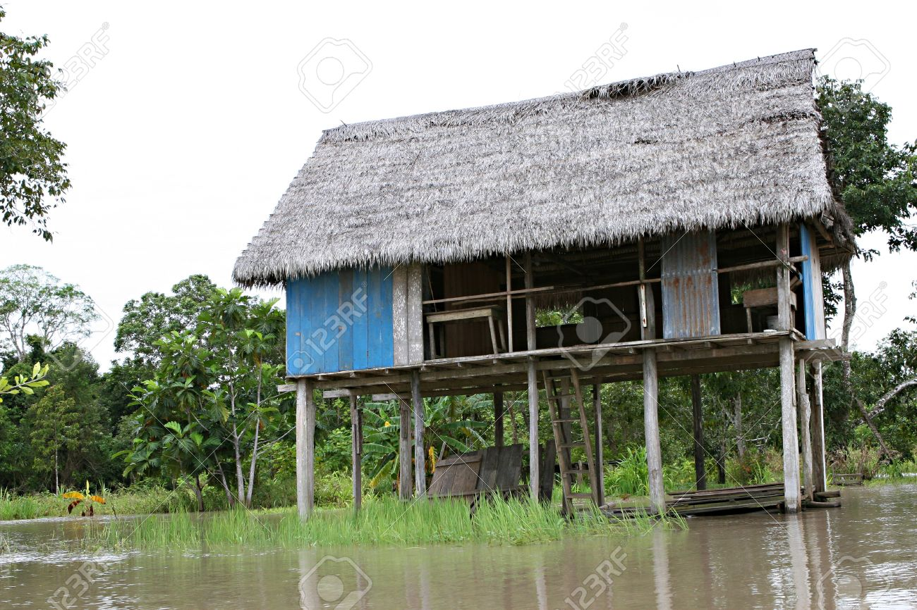 Houses on stilts rise above amazon river basin near iquitos peru stock photo 29519444