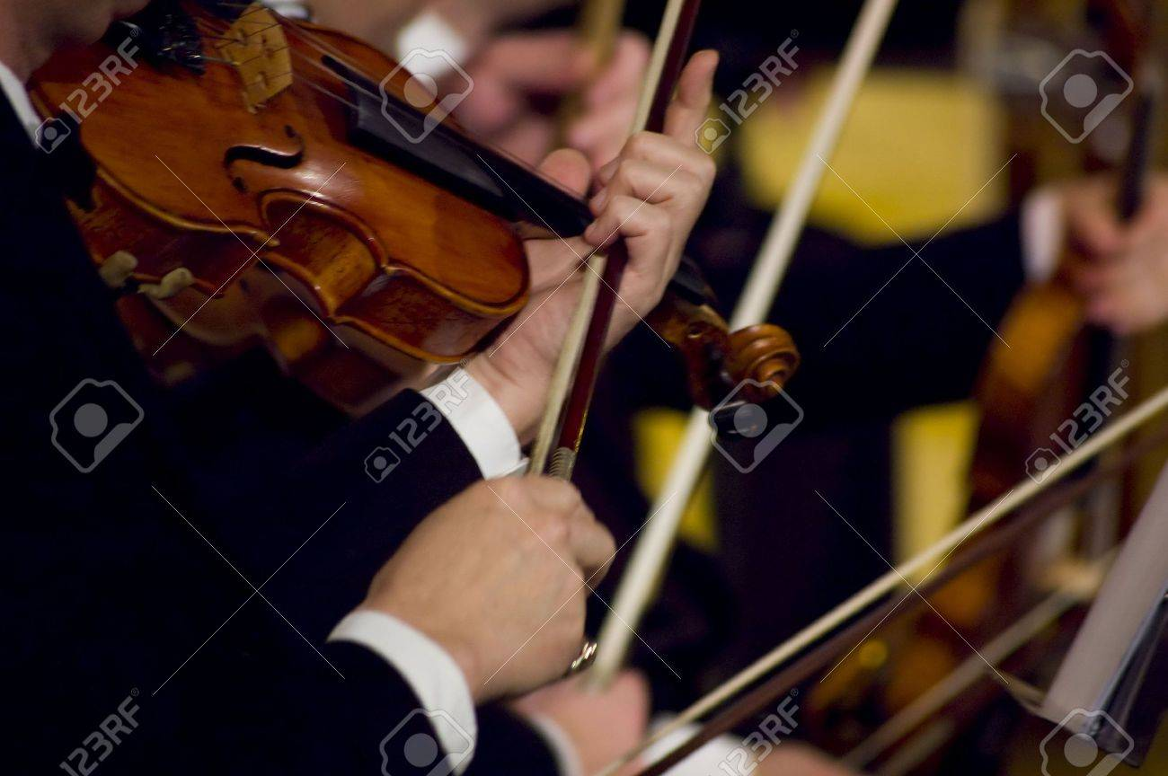 A night at the symphony concert - playing violins Stock Photo - 2223371