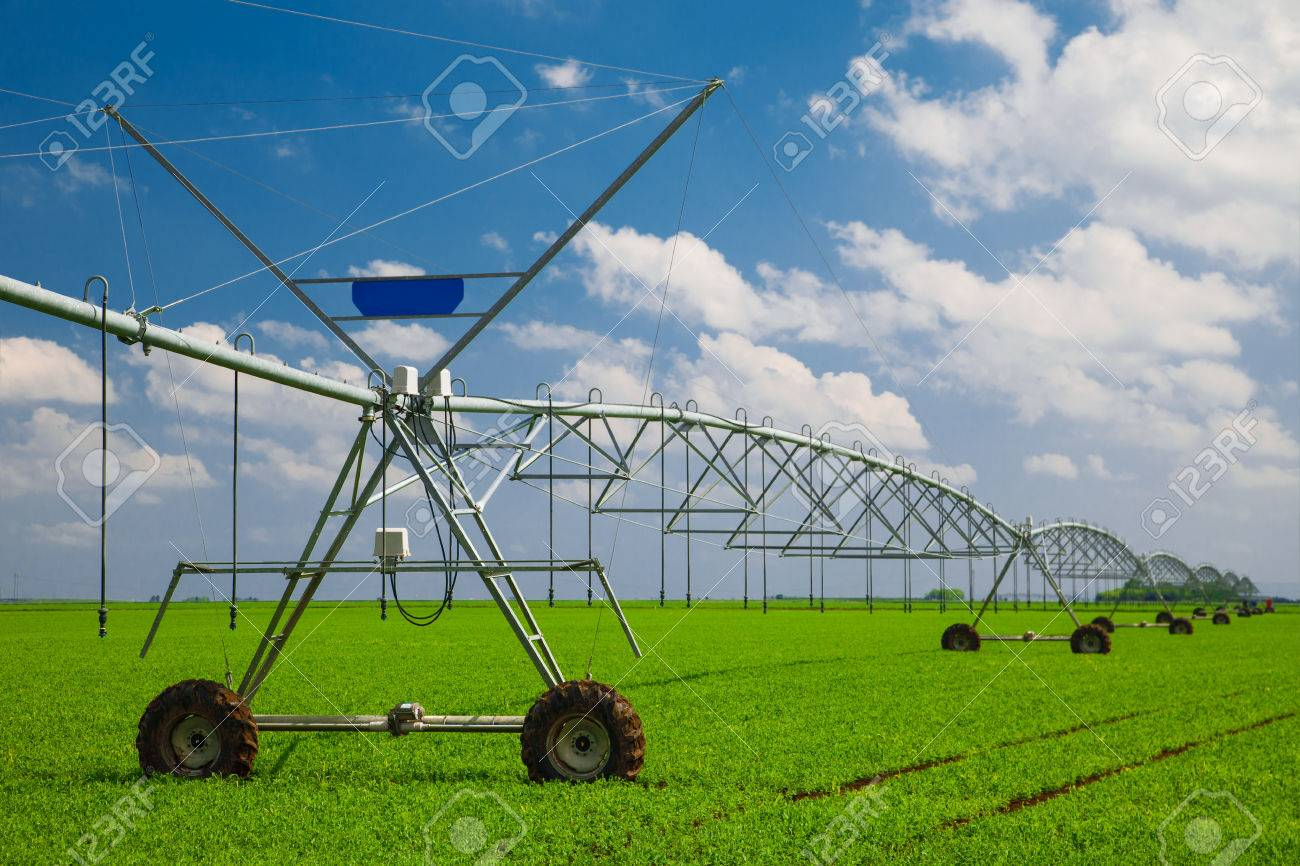 Modern Agricultural Irrigation System Stock Photo