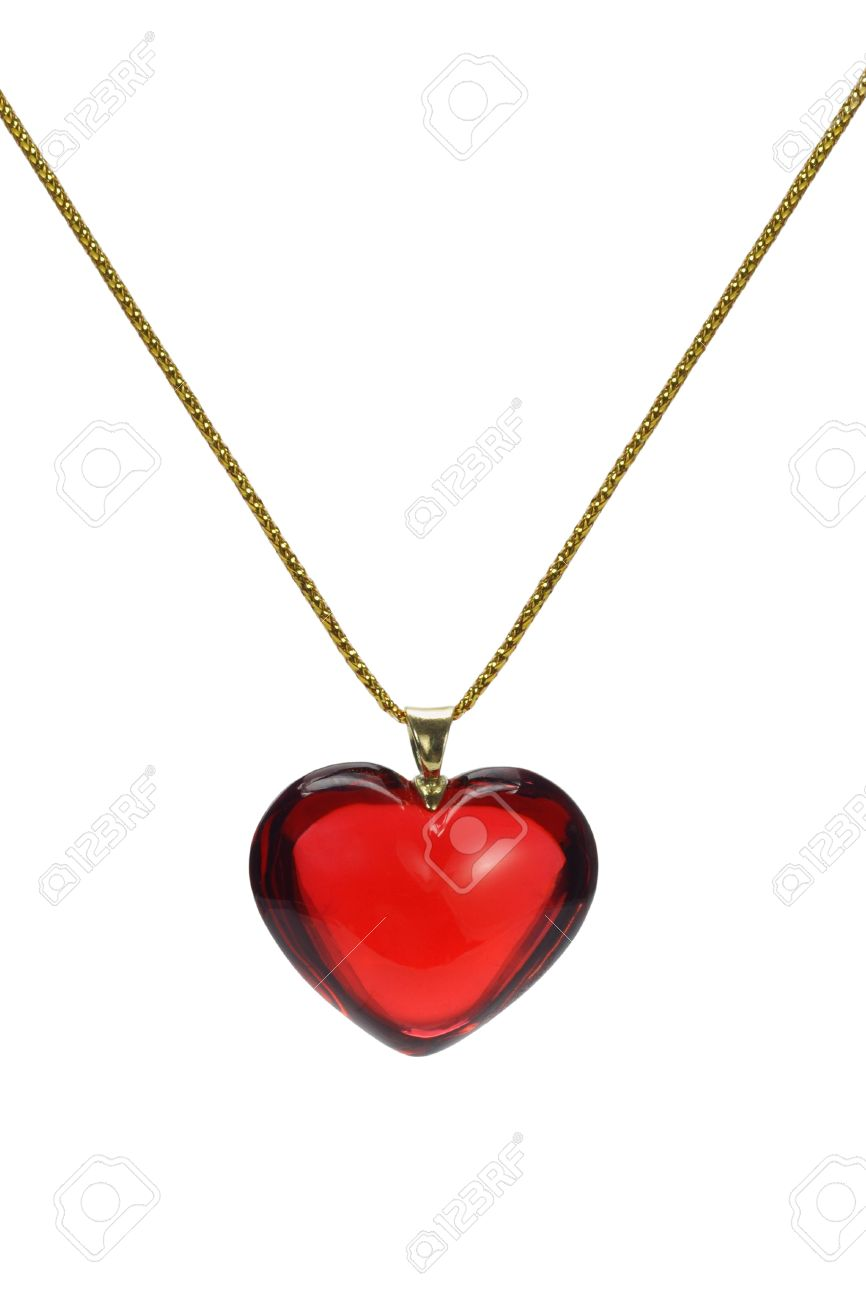 Red heart shape gemstone pendant with gold chain on white red heart shape gemstone pendant with gold chain on white background stock photo 9558270 mozeypictures Choice Image