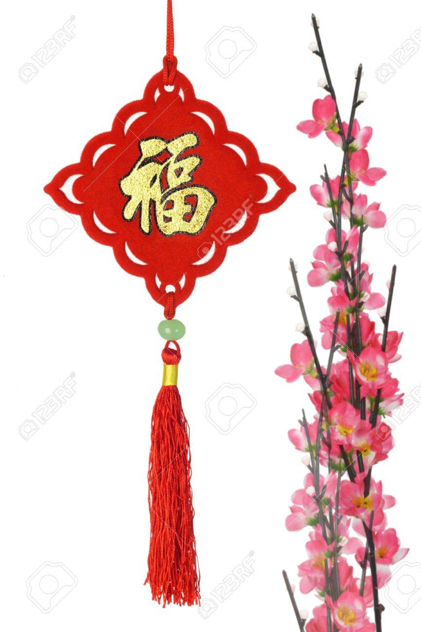 Chinese New Year traditional ornament and stalks of plum blossom on white background Stock Photo - 9593344