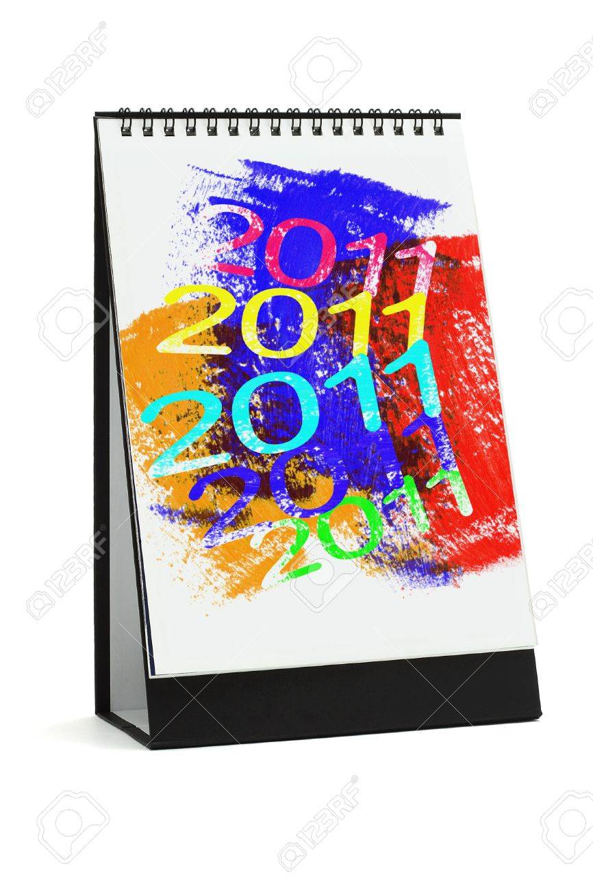 Desktop calendar with abstract artwork 2011 on white background Stock Photo - 9593422