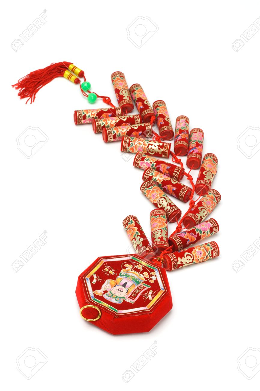 chinese new year fire crackers ornament on white background stock photo 9766830