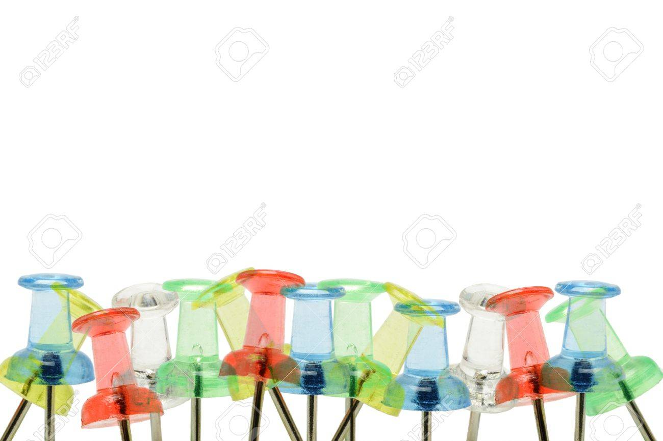 Multicolor push pins border with copy space Stock Photo - 9766490