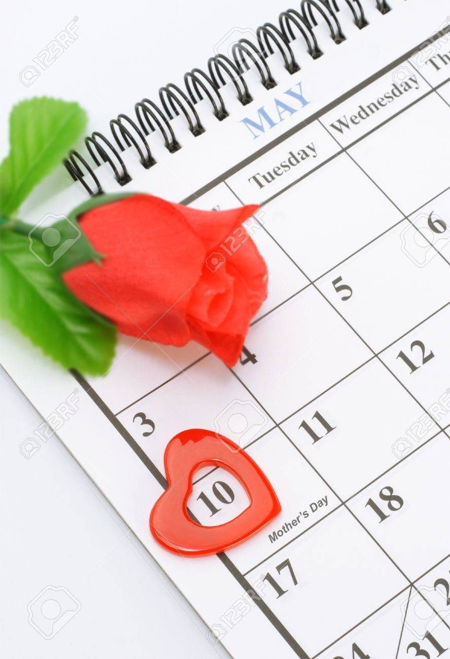 Heart shape marker on calendar page showing May 10 Mother's day Stock Photo - 9854023