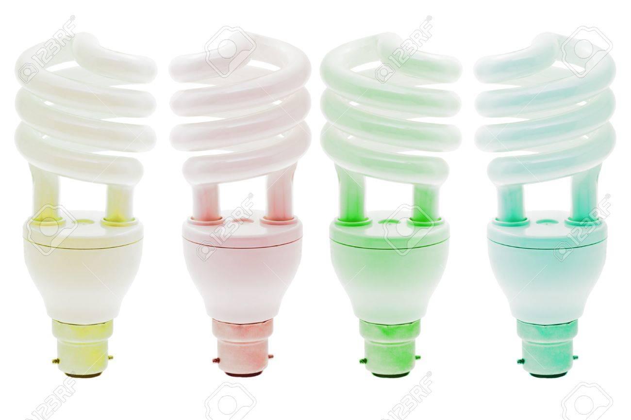 Cool White Energy Saving Light Bulbs: colorful warm and cool energy saving light bulbs on white background stock  photo.,Lighting