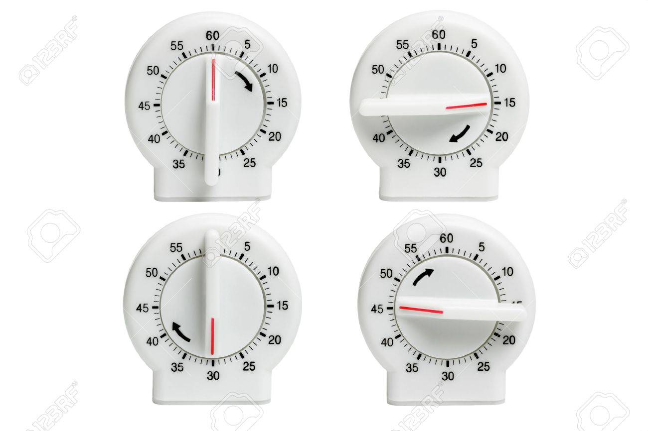 Collection Of Kitchen Timers Showing Dial Setting At Different ...