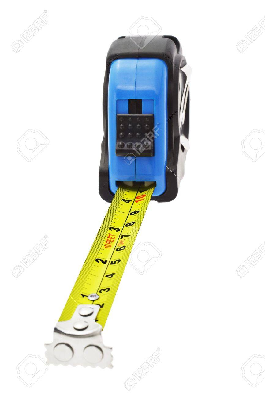 Close up of extended measuring tape with magnetic head in metric and imperial units Stock Photo - 10388327